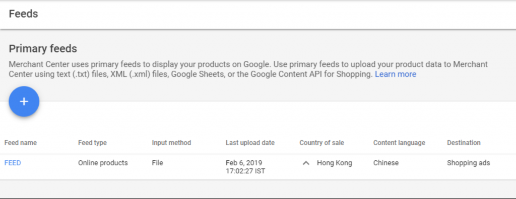 Product data feed on Google Merchant Center