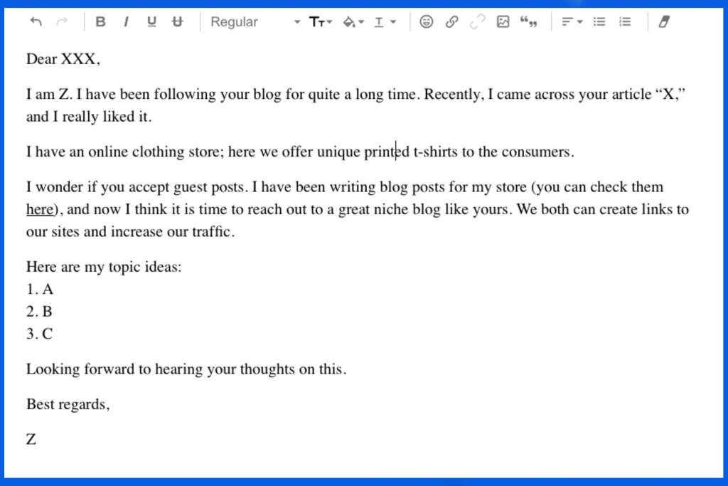 outreach email sample