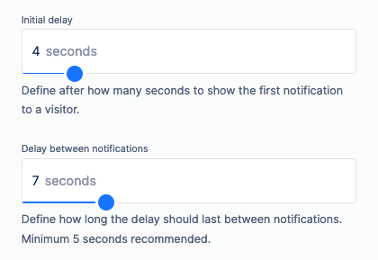 on site notifications time delays