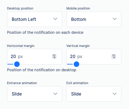 adjust on site notification positions