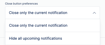 on site notifications close button preferences